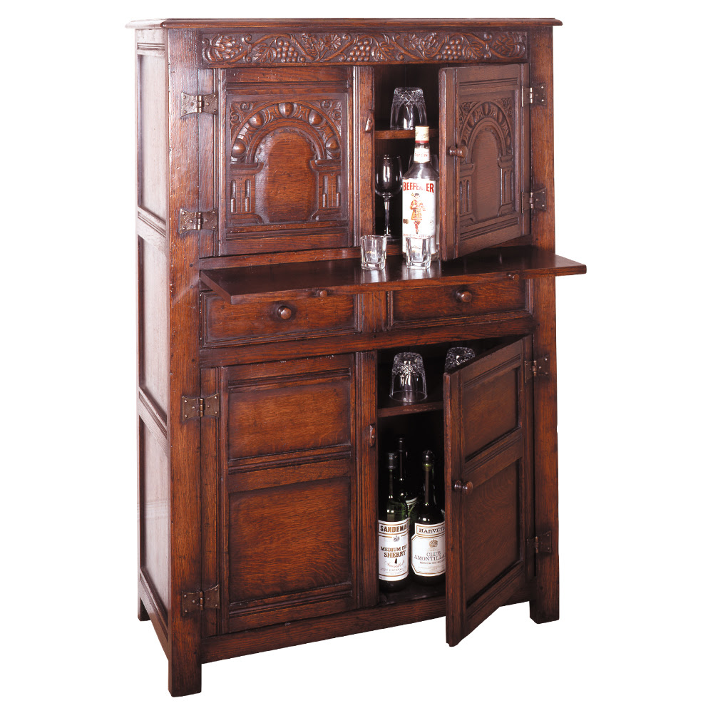 Jacobean Period English Oak Wine Cabinet with Slide