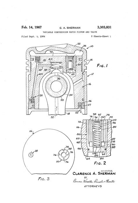 Patent US3303831 - Variable compression ratio piston and