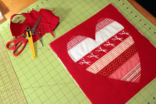 remove center heart to show your quilted stripes