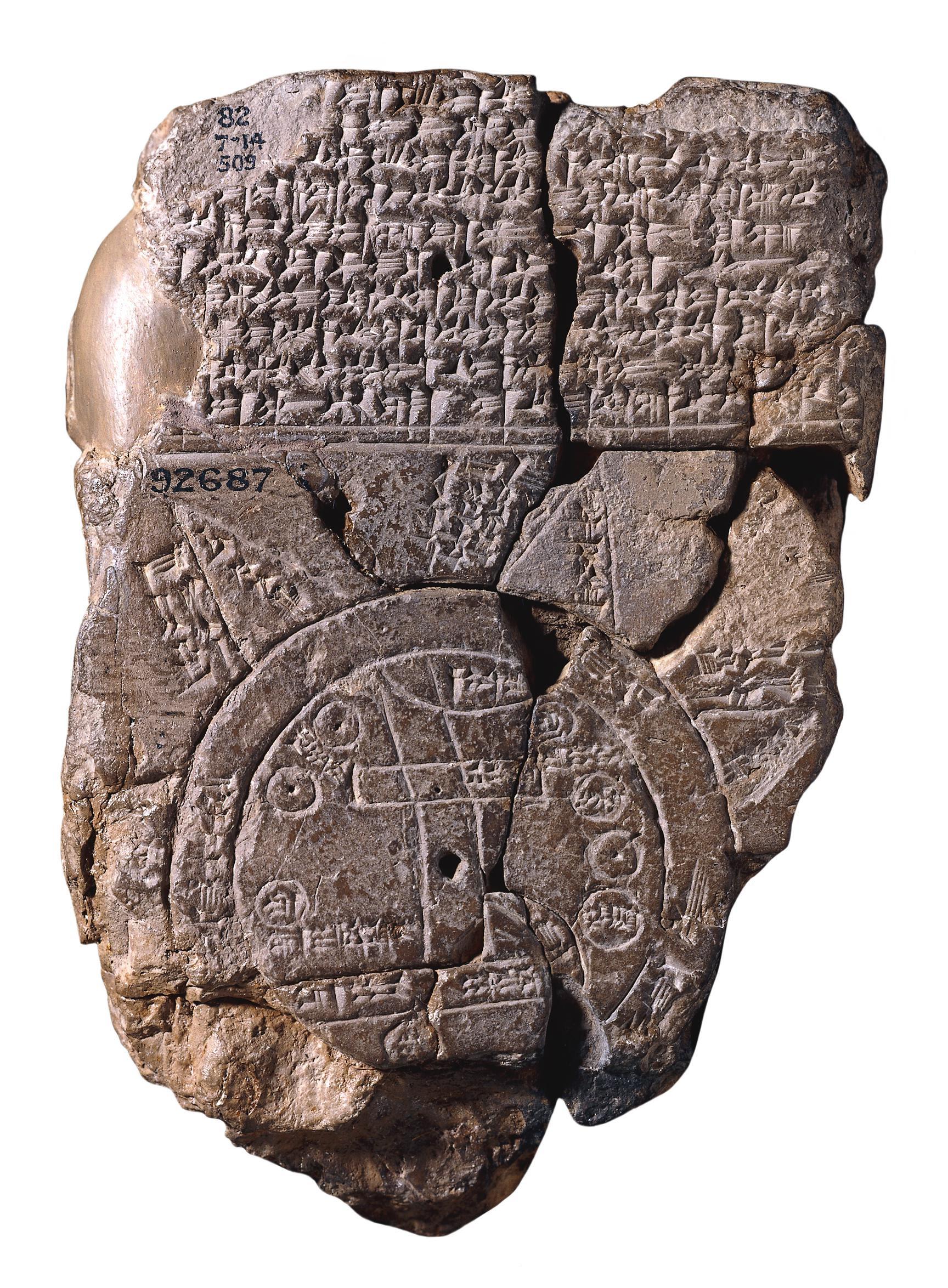 Mapa mundo Babilónio Imago Mundi do século VI a.C., o mais antigo mapa conhecido.