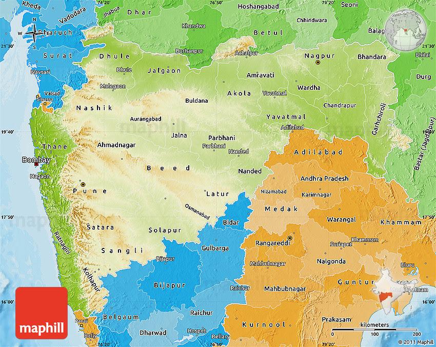 physical map of maharashtra political shades outside