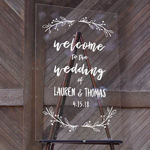 Custom Acrylic Wedding Signs   Cards and Pockets