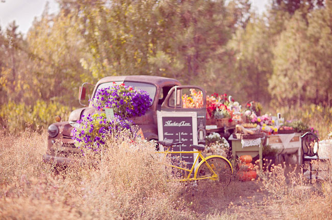flat bed truck with flowers
