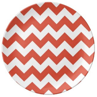 Orange and White Zigzag Porcelain Plates