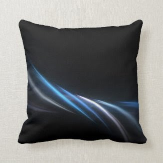 Blue Fractal Plasma Background Throw Pillows