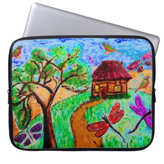 Fanciful Folk Art on Laptop Sleeve