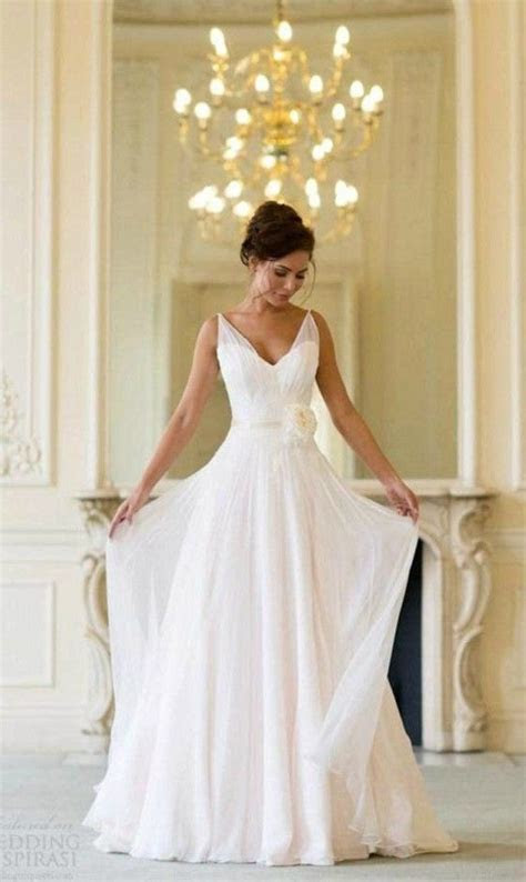 Simple V neck Chiffon Wedding Dress for Older Brides Over