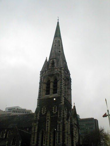 Christchurch cathedral spire in 2003