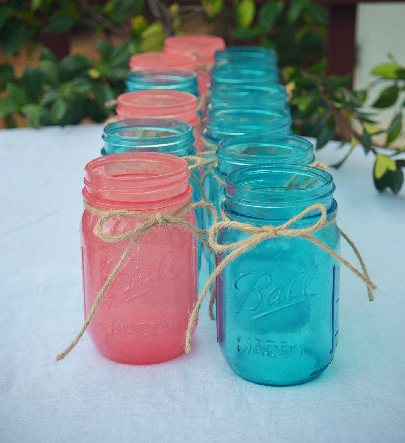 Stained Mason Jars In Your Choice of Colors - Set of 12
