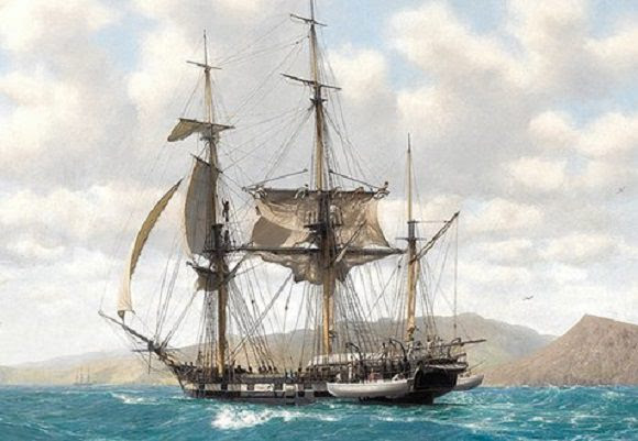 HMS Beagle in the Galapagos (painted by John Chancellor) - Credit: hmsbeagleproject.otg