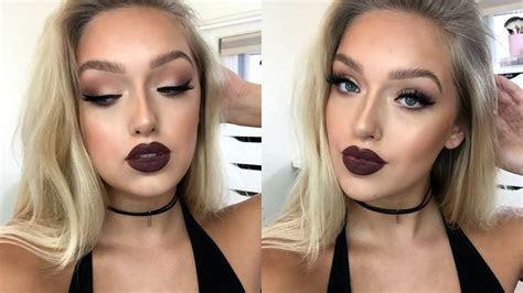Instagram ?Baddie? Makeup Tutorial  Matte Eyes, Dark Lips