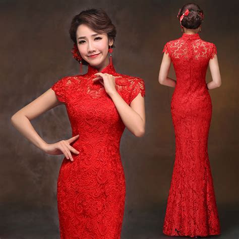 Red lace traditional Chinese mandarin collar mermaid