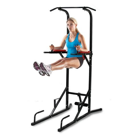 black fitness power tower dip pullchin  bar station