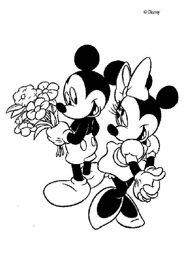 Mickey Mouse And Minnie Mouse In Love Coloring Pages Hellokidscom