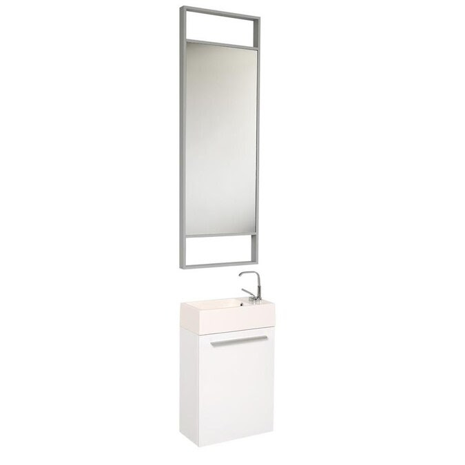 Fresca Senza 16 In White Single Sink Bathroom Vanity With White Acrylic Top Mirror And Faucet Included In The Bathroom Vanities With Tops Department At Lowes Com