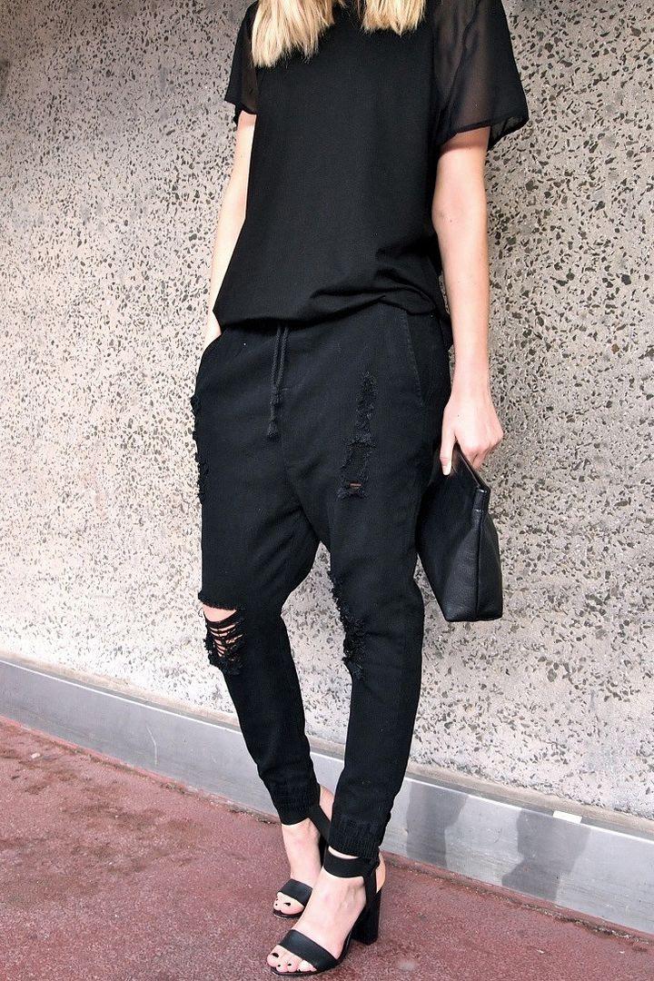 Le Fashion Blog -- Black On Black Look -- Sheer Sleeve Tee & Mad Love Drop Crotch Jogger Pant -- Via Alex of Give Me That Thing -- photo Le-Fashion-Blog-Black-On-Black-Look-Sheer-Sleeve-Tee-Mad-Love-Drop-Crotch-Jogger-Pant-Via-Alex-Give-Me-That-Thing.jpg