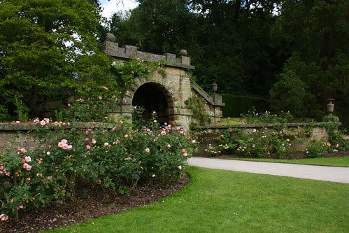 Stone gate and roses at Chatsworth