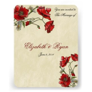Red Poppies Elegant Wedding Invitation