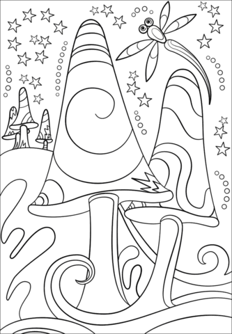 trippy shrooms coloring page  free printable coloring pages