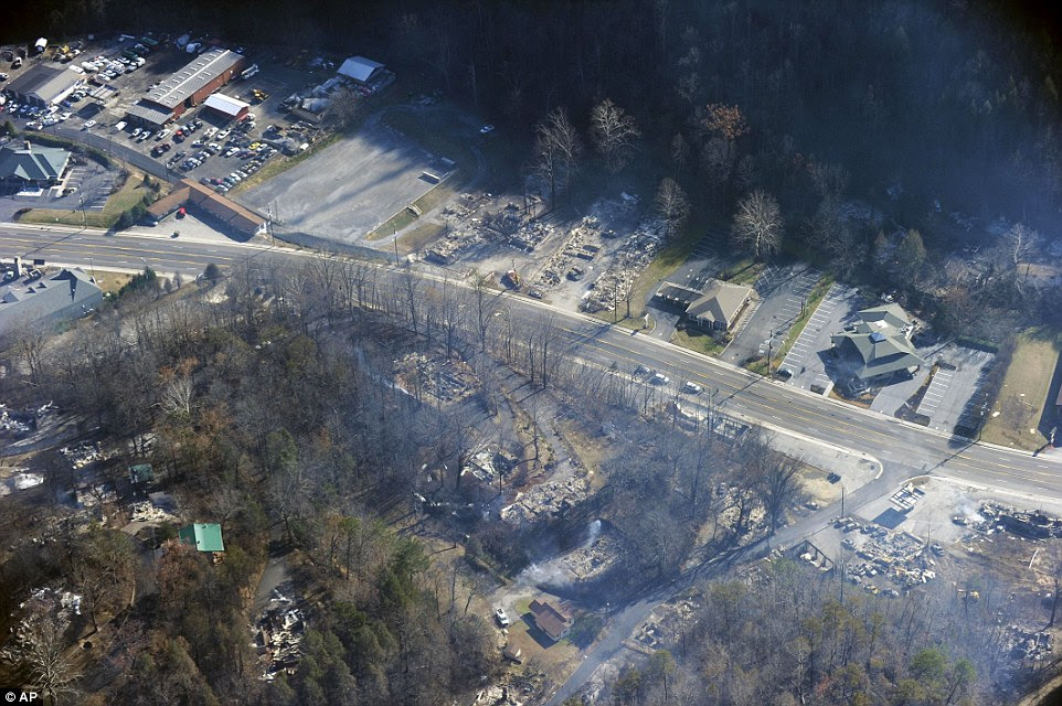 AFTER THE FIRE: This aerial photo shows, shows the destruction wreaked by the fire which destroyed countless homes