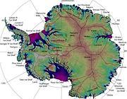 La mappa della velocità e della direzione dei ghiacci antartici (da Nasa)
