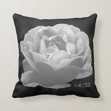 Rose In Black And White - Monogram Throw Pillow