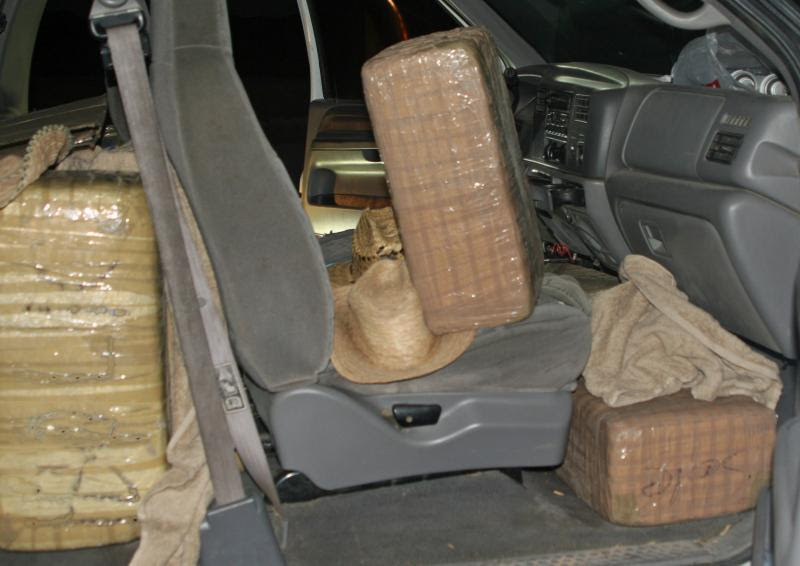 Photo of 400 pounds of marijuana inside a vehicle