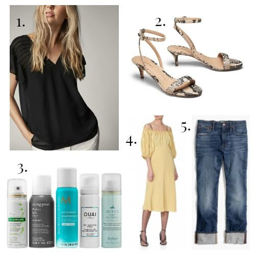 Massimo Dutti Shirt - M. Gemi Sandals - Sephora Favorites Dry Shampoo - Tibi Dress - Madewell Jeans
