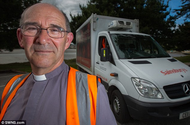 Reverend Martyn Pinnock has taken a job as a Sainsbury's delivery driver because he is short of cash