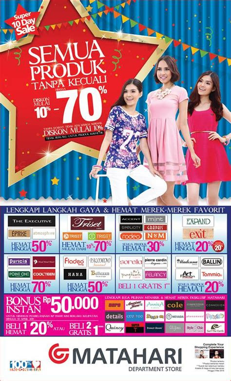 promo matahari department store  april  mei