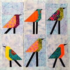 6 Bird Blocks on the Design Wall