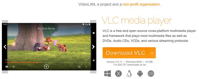 Descargue VLC del sitio web oficial para tomar capturas de pantalla de películas