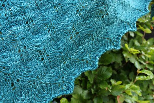 Handspun Shetland triangle lace shawl