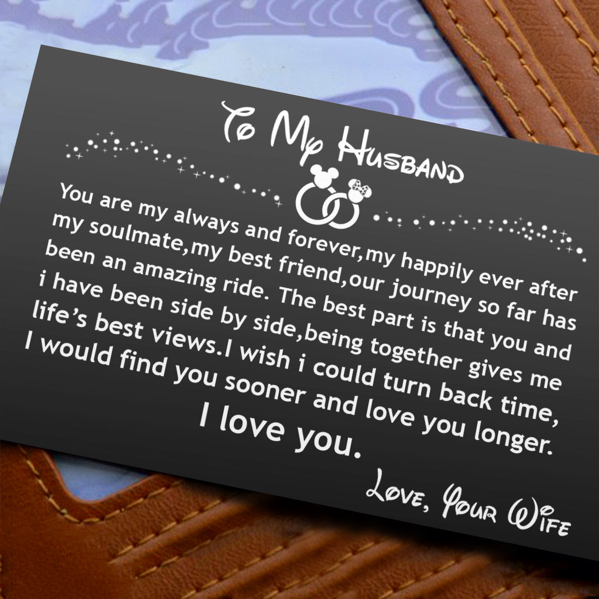 Engraved Black Wallet Insert Card To My Husband I Love You V5403