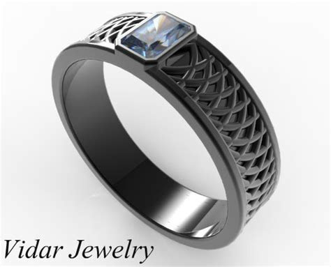 Men's Radiant Cut Blue Sapphire Wedding Band   Vidar
