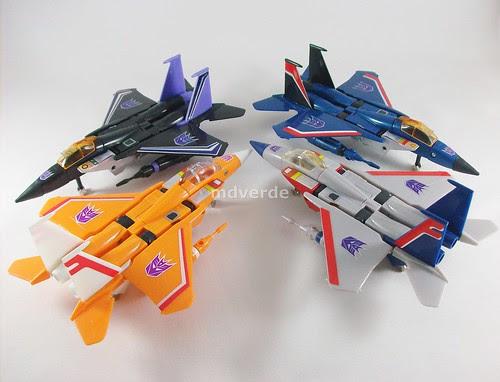 Transformers Sunstorm G1 eHobby vs Starscream vs Skywarp vs Thundercracker - modo alterno