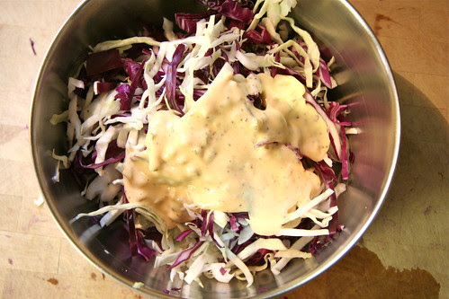 Dressing the cabbage for Firecracker Slaw