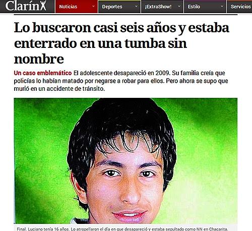 Fig. 2: El diario Clarín niega la hipótesis de asesinato.