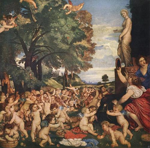 Titian, The Worship of Venus Ain't no party like an ugly baby party!