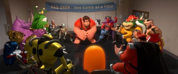 Ralph (John C. Reilly) confers with his fellow video game bad guys in WRECK-IT RALPH.