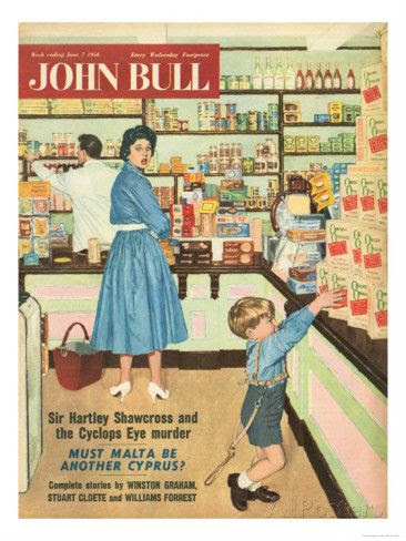 1950s shopping | John Bull, Disasters Shopping Magazine, UK, 1950 Lámina