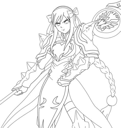 erza scarlet  armor  colouring pages