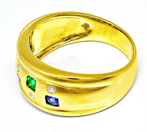 Foto 3, Schöner Brillant-Safir-Smaragd-Ring Luxus Neu Portofrei, S8495