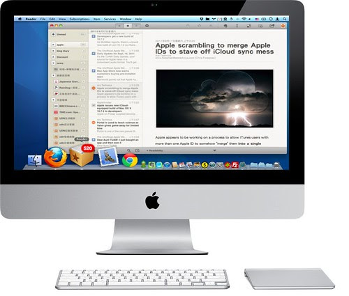 Reeder iMac with Magic Trackpad