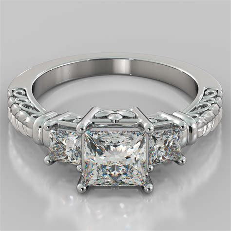 1.75Ct Princess Cut 3 Stone Designer Engagement Ring in