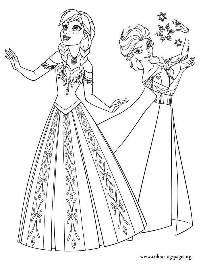 Elsa And Anna Coloring Pages Coloring Home