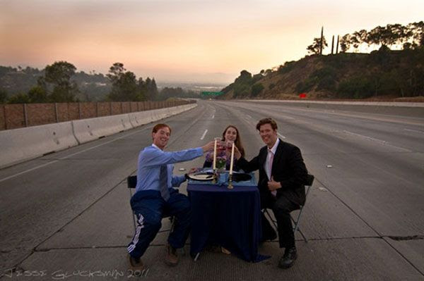Matt Corrigan, his wife Amanda and their college friend Barry Neely pretend to dine out on the 405 freeway during the Carmageddon of July 2011.