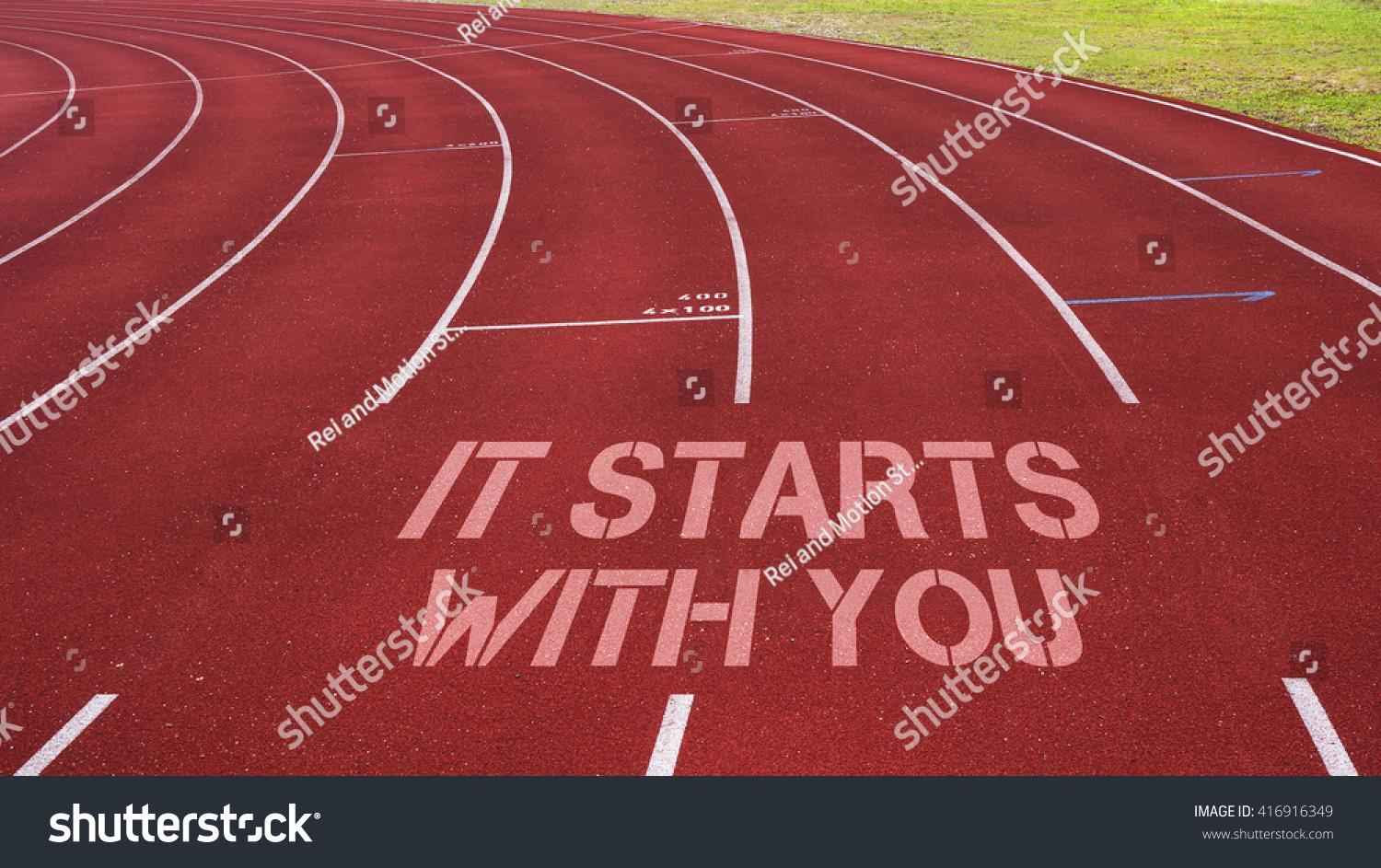 Stock Photo Motivational Quote Written On Running Track It Starts
