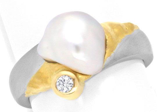 Originalfoto PLATIN GOLD BRILLANT-RING KESHI ZUCHTPERLE