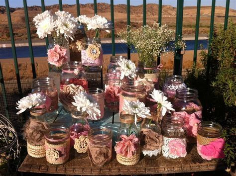RUSTIC PINK WEDDING decor. 15 Bulk Burlap Lace Mason Jars
